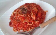 パスタのトマトみそ味の簡単料理レシピ画像